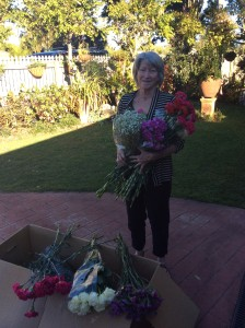 Irene with some flowers ready for action